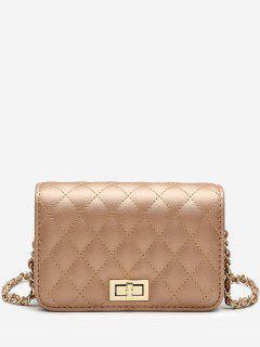 Quilted Chain Crossbody Bag - Golden