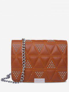 Quilted Studded Crossbody Bag - Brown