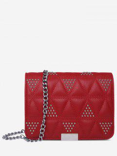 Quilted Studded Crossbody Bag - Red