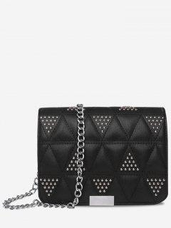 Quilted Studded Crossbody Bag - Black