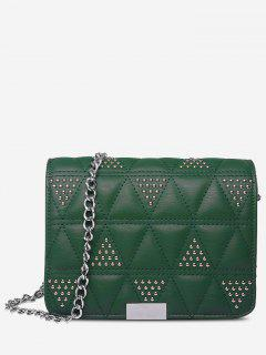 Quilted Studded Crossbody Bag - Green