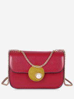 Flap Faux Pearl Crossbody Bag - Red