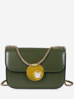 Flap Faux Pearl Crossbody Bag - Green