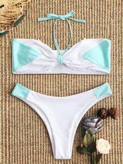 Two Tone Bandeau Bikini Set - White And Green S