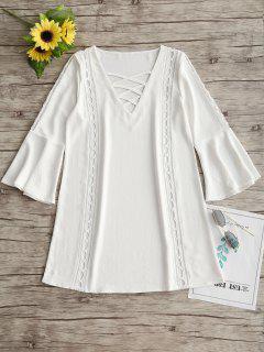 Flare Sleeve Lattice Front Openwork Dress - White L