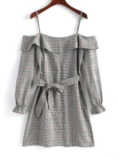Plaid Ruffle Cold Shoulder Mini Dress - Gray M