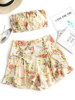 Smocked Floral Bandeau Top And Shorts Set - Floral L