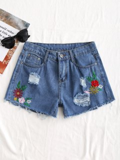 Distressed Floral Embroidered Denim Shorts - Denim Blue L