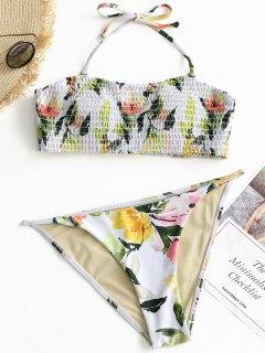 Smocked Leaf Bandeau Bikini Set - White S