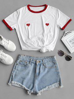 Camiseta Larga Con Estampado De Corazones - Blanco L