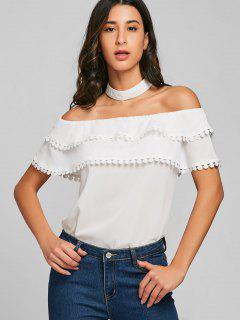 Crochet Trim Tiered Choker Bluse - Weiß L