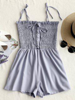 Smocked Lace Up Cami Romper - Stone Blue S