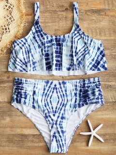 Plus Size Tie Dye High Waisted Bikini - Blue 3xl