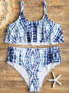 Bikini De Talle Alto Con Efecto Tie Dye Talla Grande - Azul Xl