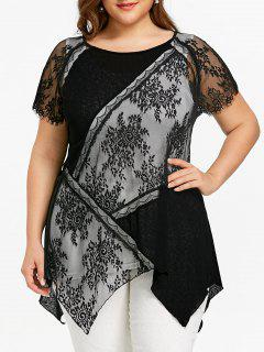 Plus Size Sheer Asymmetric T-shirt With Tank Top - White And Black 5xl