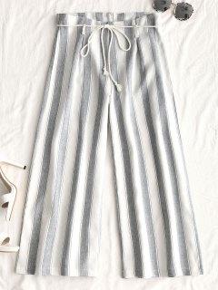 Pantalon Large à Ceinture - Blanc Xl