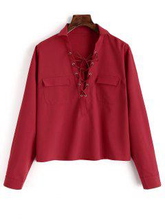 Plain Lace Up Long Sleeve Shirt - Red L