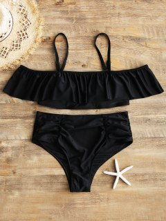 Overlay Top And Ruched High Waisted Swim Bottoms - Black 3xl