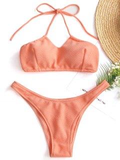 Ensemble Bikini Texturé à Col Halter à Coupe Haute - Orange Rose L