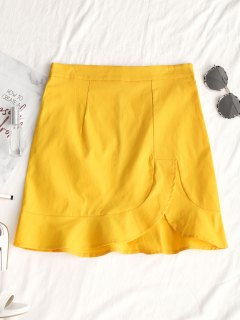 Asymmetrical Hem Ruffles Mini Skirt - Yellow L