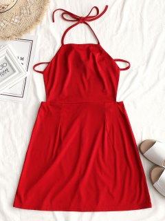 Drawstring Halter Open Back Mini Dress - Red M