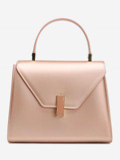 Flap Minimalist Handbag With Strap - Rose Gold