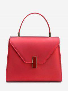 Flap Minimalist Handbag With Strap - Wine Red