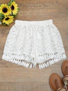 Tassel Drawstring Lace Shorts - White L