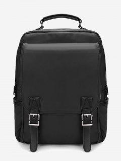 Double Buckles Multipurpose Laptop Backpack With Handle - Black