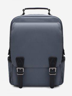 Double Buckles Multipurpose Laptop Backpack With Handle - Deep Gray
