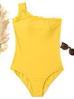One-shoulder Lettuce Plus Size Swimsuit - Yellow Xl