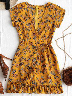 Tiefer Ausschnitt Rüschen Blumendruck Kleid - Khaki Xl