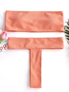 Textured Bandeau Thong Bikini Set - Orangepink L