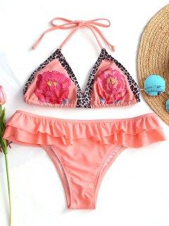 Conjunto De Bikini Halter Con Estampado De Volantes - Naranja Rosa S