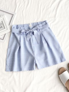 Belted Back Zip Plaid Shorts - Light Blue L