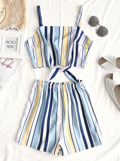 Tied Stripes Top And High Waisted Shorts Set - Stripe Xl