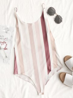 Open Back Striped Bodysuit - Stripe L