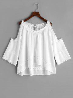 Crochet Panel Cold Shoulder Blouse - White S