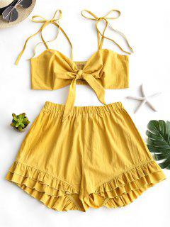 Smocked Cami Top And Ruffled Shorts Set - Mustard L