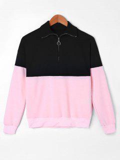 Zip Neck Two Tone Sweatshirt - L