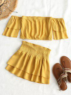 Off Shoulder Top And Smocked Skirt Set - Light Yellow M