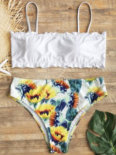 Plus Size Lettuce Hem Sunflower High Cut Bikini - White Xl
