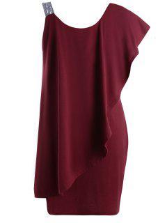 Robe Courte Volantée à Une épaule Nue Grande Taille - Rouge Vineux  3xl