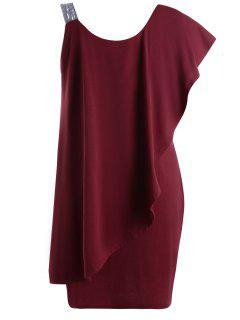 Plus Size One Shoulder Flounce Mini Dress - Wine Red 5xl