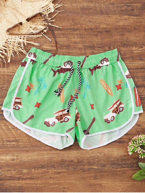 affordable Cartoon Print Beach Shorts - GREEN L Mobile