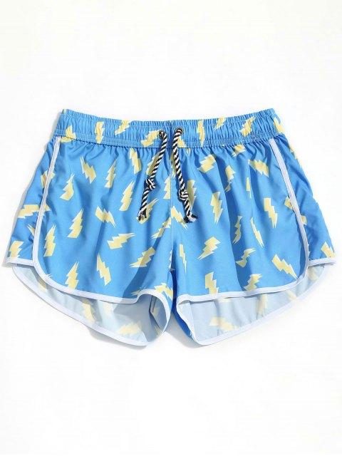 ladies Lightning Print Beach Shorts - AZURE L Mobile
