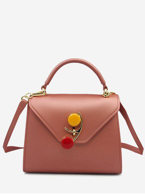 lady Contrasting Color Flap Handbag - ROSE GOLD  Mobile