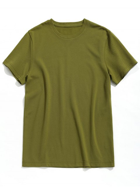 affordable Short Sleeve Plain Tee - ARMY GREEN 3XL Mobile