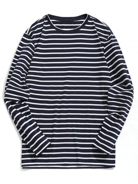 lady Cotton Blend Striped Tee - STRIPE L Mobile