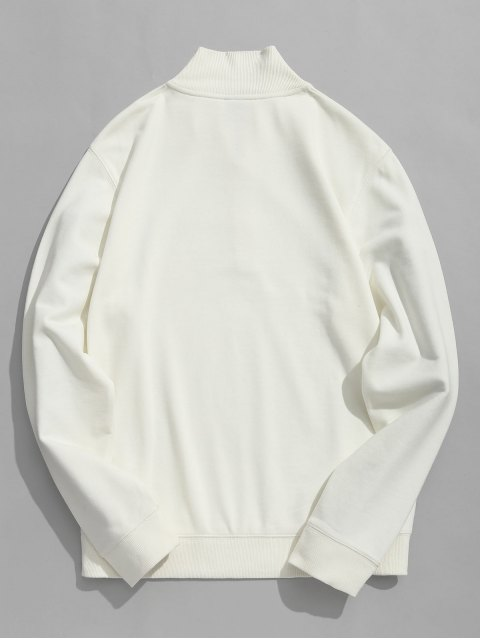 shops Half Zipper High Neck Sweatshirt - WHITE 3XL Mobile